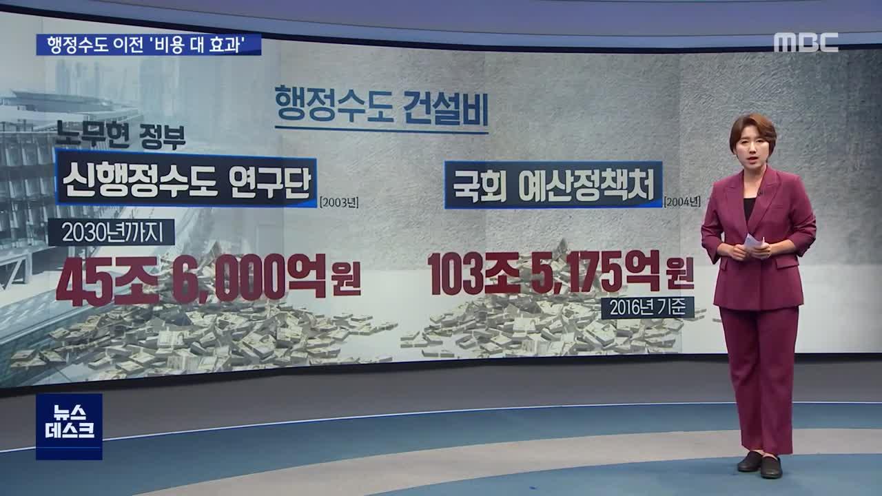 <MBC 뉴스데스크> 행정수도 이전 비용 대 효과